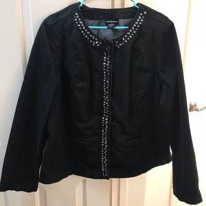 Lane Bryant 22 Black Denim Jacket Lace/Gems